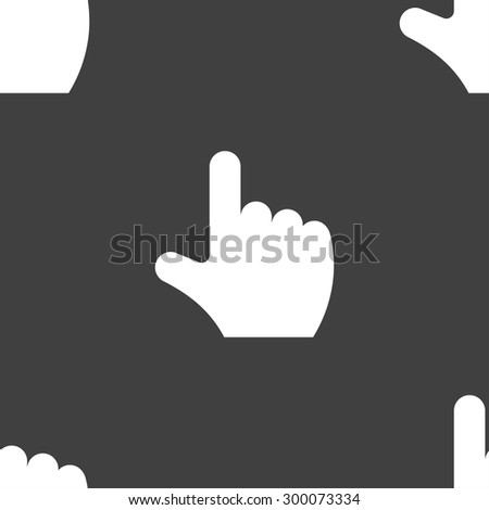 pointing hand icon sign. Seamless pattern on a gray background. Vector illustration - stock vector