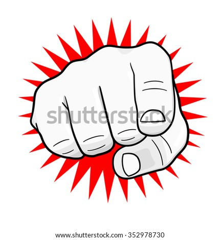 Pointing hand on white background. Vector illustration