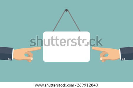 Pointing hands and signboard - stock vector