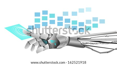pointing machine hand on white background - stock vector