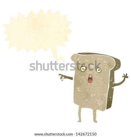 pointing toast cartoon character