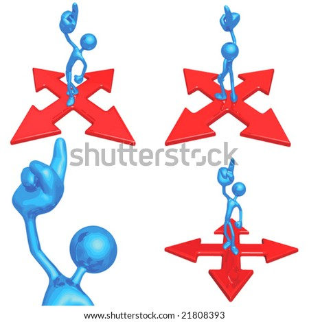 Pointing Up At Crossroads - stock vector