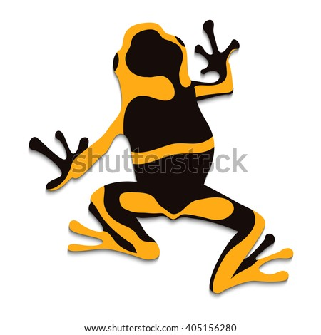 Poison frog, flat design. Vector illustration of yellow, black frog on white background.  Isolated tree frog, top view - stock vector