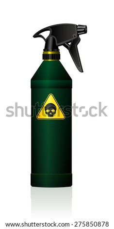 Poison spray bottle for plant toxins, insecticides, pesticides, biocides and etc - with a black skull on a yellow triangle as a hazard warning sign for toxicity. Isolated vector on white background. - stock vector