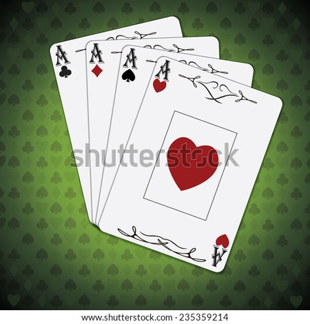 Poker card, ace of clubs, ace of diamonds, ace of hearts, ace of spades, set on green background - stock vector