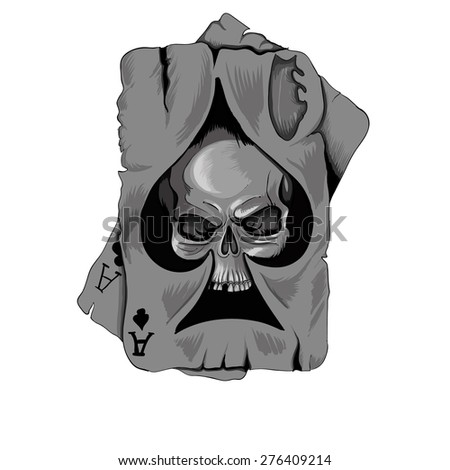 Poker card old ace of spades with skull isolated on white background - stock vector