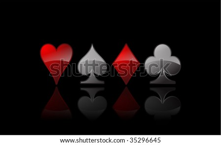 poker card signs - stock vector