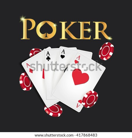 Poker cards and poker's symbol on a dark background.