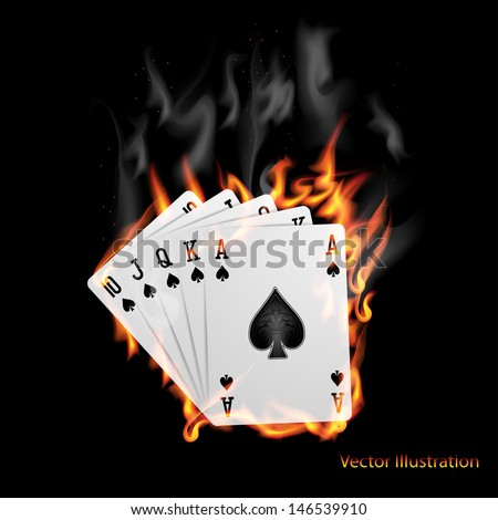 Poker cards burn in the fire.  - stock vector
