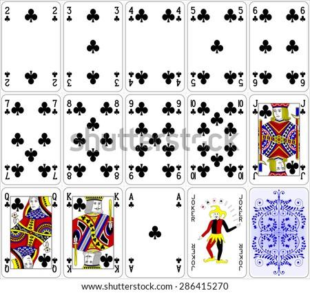 Poker cards club set four color classic design 600 dpi - stock vector