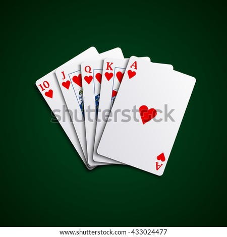 Poker cards flush hearts hand