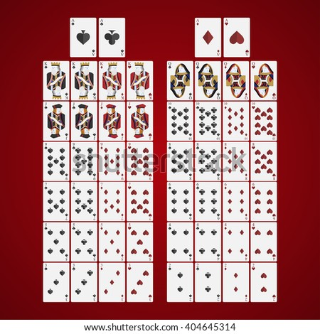 Poker  cards full set four color classic design on a red background - stock vector