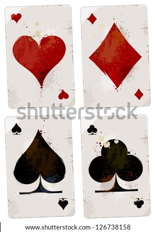 Poker cards set. Grunge dirty style. EPS 8 vector illustration.