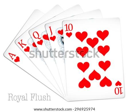 Poker cards show royal flush - stock vector