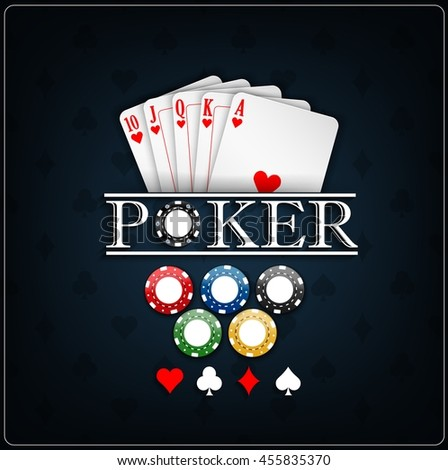 Poker cards with casino chips on a blue background.Vector