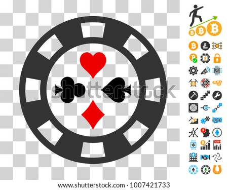 Poker Casino Chip pictograph with bonus bitcoin mining and blockchain pictograms. Vector illustration style is flat iconic symbols. Designed for blockchain software.