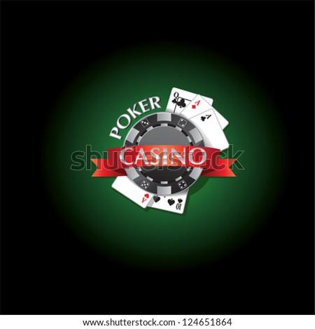 poker casino logo new - stock vector