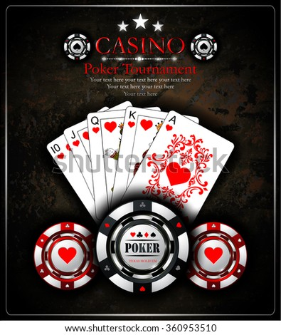 Poker chip.Casino background.Vip.Vintage style and Poker Tournament label. Royal flush - stock vector
