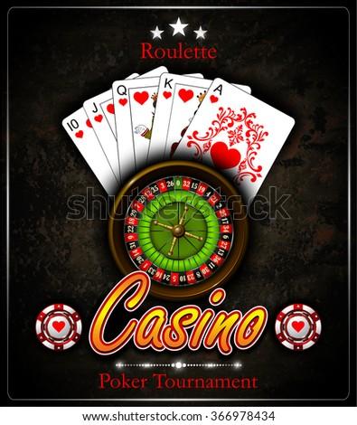 Poker chip.Casino background.Vip.Vintage style. Royal flush. Roulette wheel. Vector illustration. - stock vector