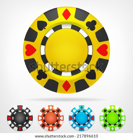 poker chip isometric color set 3D object isolated on white vector illustration - stock vector