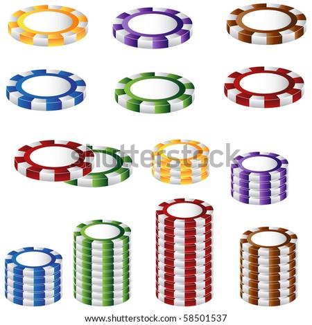 poker chip set - stock vector