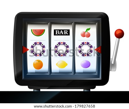 poker chip three items on play machine frame vector illustration - stock vector