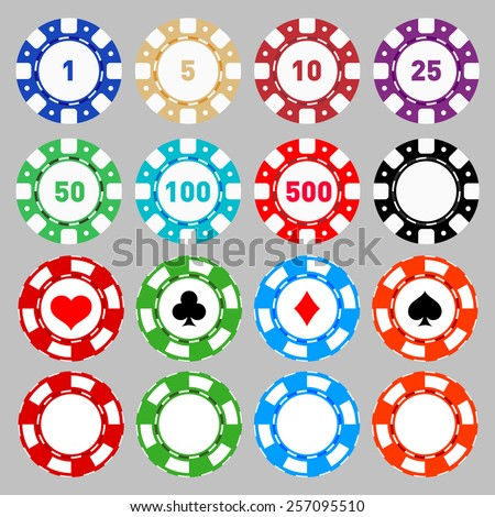 Poker Chips and card suits