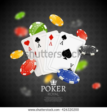 Poker chips and cards bacgkground. Poker Casino template poster. Flyer design layout. - stock vector