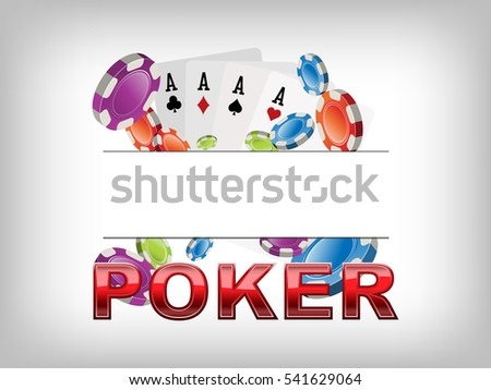 Poker chips and cards banner