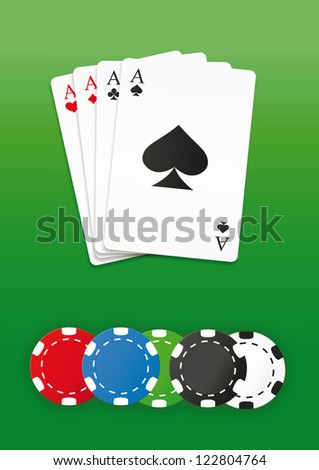 Poker chips and cards set. Vector illustration