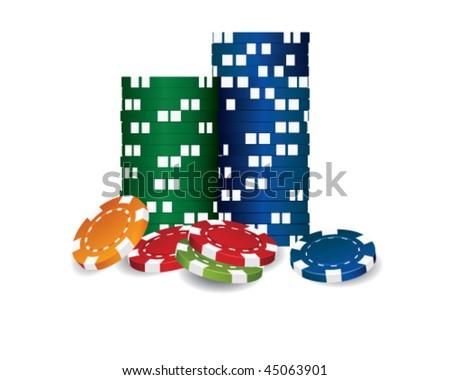 poker chips vector - stock vector