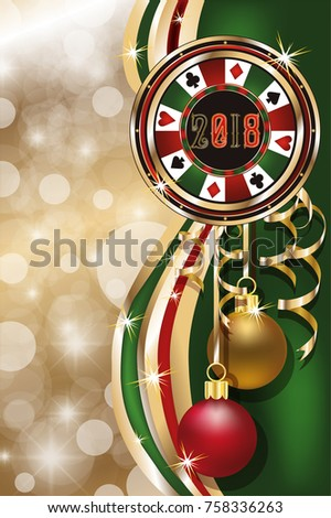 Poker christmas chip, new 2018 year, vector illustration