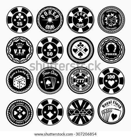 Poker club and casino black labels set. Privilege vip game, gambling play, luck and chip, vector illustration - stock vector
