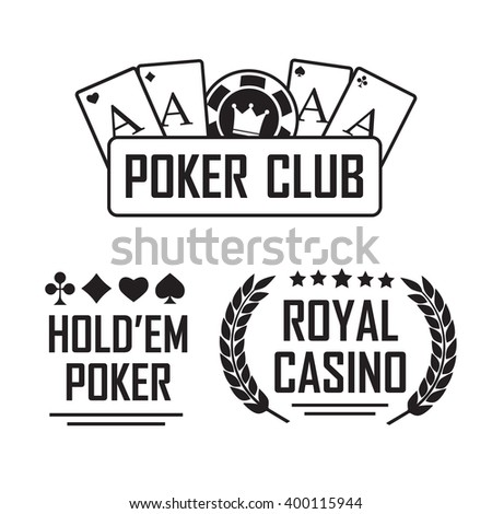 Poker club and casino vector sign set. Emblem casino, gambling casino - stock vector