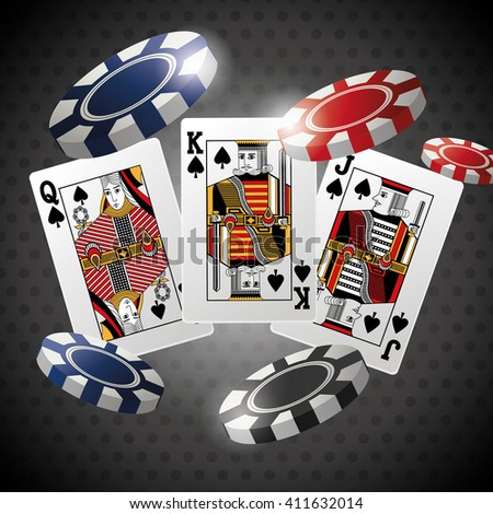 Poker design, cards and chips concept ,, casino games - stock vector