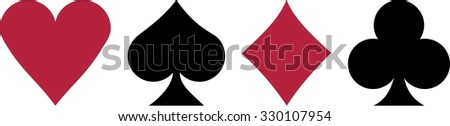 Poker Four playing cards suits - stock vector