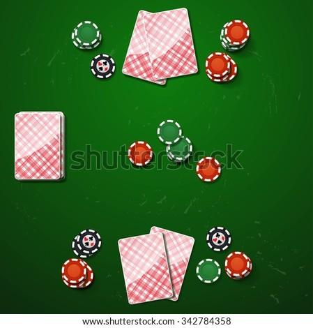 Poker gambling chips. vector casino elements - stock vector
