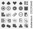 Poker icons set - vector playing cards or gambling casino symbols - stock vector