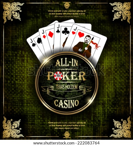 Poker Jacks. Vector background. Poker and casino label. Texas holdem. All-in.