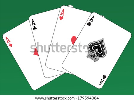 Poker of Aces playing cards on a green background. Each card is full and isolated - stock vector