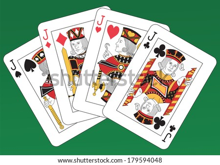 Poker of Jacks playing cards on a green background. Each card is full and isolated - stock vector