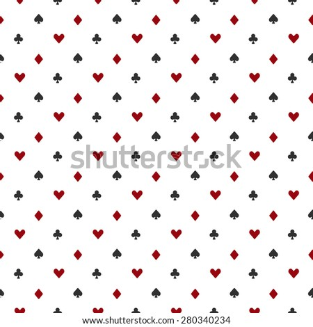 Poker or casino seamless pattern - vector white background with red and black playing card suits - stock vector