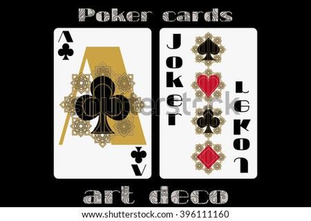 Poker playing card. Ace clubs. Joker. Poker cards in the art deco style. Standard size card. - stock vector