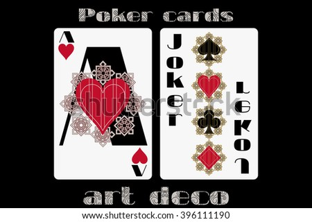 Poker playing card. Ace heart. Joker. Poker cards in the art deco style. Standard size card. - stock vector