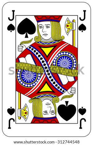 Poker playing card Jack spade - stock vector