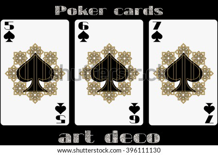 Poker playing card. 5 spade. 6 spade. 7 spade. Poker cards in the art deco style. Standard size card. - stock vector