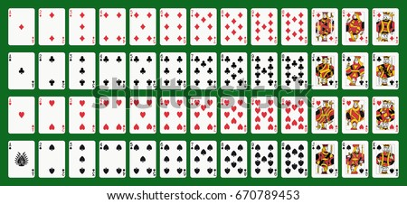 Poker playing cards, full deck. Green background in a separate layer