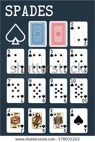 Poker set with isolated cards on blue background - Spades