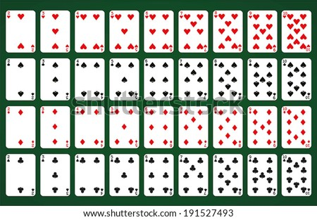 Poker set with isolated cards on green background - Numbered cards