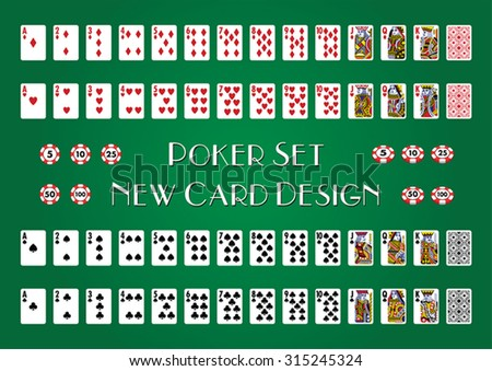 Poker Set with New Cards Design - stock vector
